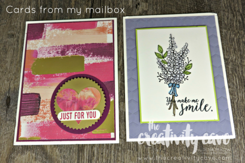 Cards from my mailbox this week, hilighted during my FB Live Show at www.thecreativitycave.com #stampinup #thecreativitycave #valentinesday #hanmadegreetingcards #rubberstamping #paper #crafting