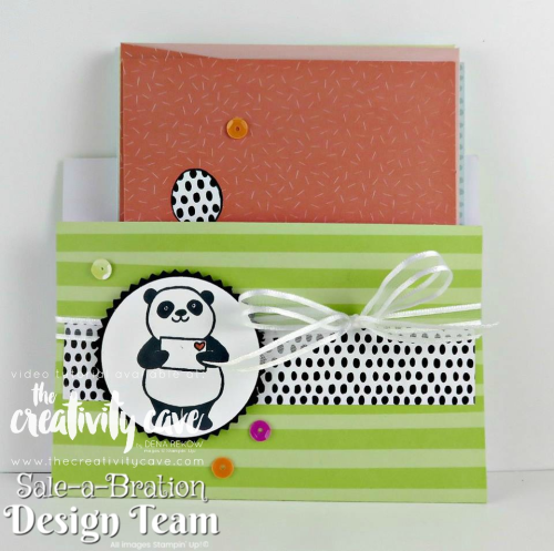 Check out the downloadable PDF tutorial for this adorable pouch featuring 3 different cards using Stampin Up's Party Pandas Stamp set and Tutti Frutti Notecard and Envelope set on my blog at www.thecreativitycave.com And if you are a VIP Rewards member, there is a video of this project for you, too!  #stampinup #cardmaking #partypandas #tuttifruttinotecards #handmadenotecards