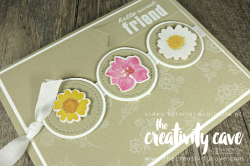 Check out the fun video tutorial for this project and two more on my blog using February 2018's Wildflower Wishes Paper Pumpkin Kit on my blog at www.theceativitycave.com #stampinup #thecreativitycave #paperpumpkin #wildflowerwishes #handmade #rubberstamping #diy #easy #bigshot #alternativeideas