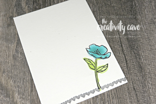 Inside of the card: Check out the awesome video tutorial for this GORGEOUS Shabby Chic card using this fun color combination using Stampin Up's Birthday Blooms Stamp Set on my blog at www.thecreativitycave.com #stampinup #SIPChallenge #hardwoodbackground #birthdayblooms #colorcombo