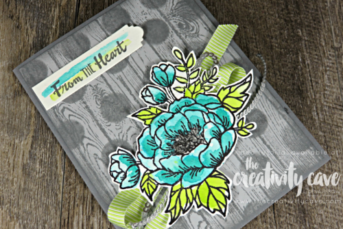 Check out the awesome video tutorial for this GORGEOUS Shabby Chic card using this fun color combination using Stampin Up's Birthday Blooms Stamp Set on my blog at www.thecreativitycave.com #stampinup #SIPChallenge #hardwoodbackground #birthdayblooms #colorcombo