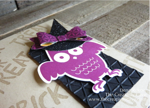 Card to coordinate with treat boxes using Stampin Up Punches and Black Glimmer Paper