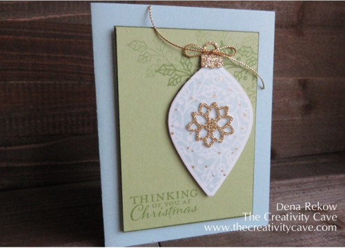 Stampin Up's Embellished Ornaments with Winter Wonderland Vellum and a touch of Gold Glimmer make for a gorgeous Christmas Card!