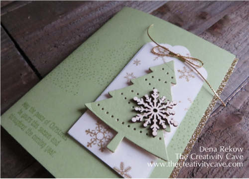 Stampin Up's Peaceful Pines Bundle with Winter Wonderland Vellum and a touch of Gold Glimmer make for a gorgeous Christmas Card!