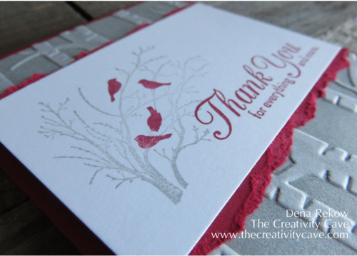 Stampin Up's Serene Silhouettes and One Big Meaning make a fantastic Thank You Card with the Woodland Embossing Folder in the background!  Video tutorial on blog post!