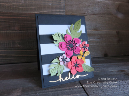 Eye Catching flowers pop off the card using Stampin Up's Botanical Blooms Stamp set!