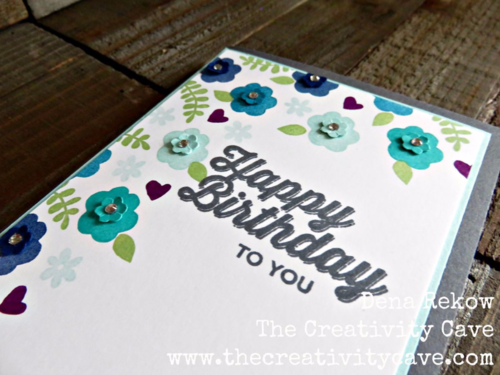 Gorgeous in shades of blue card using Stampin Up's Endless Thanks and Perfect Pairings Saleabration Sets. Stepped up with some flower punches and a little bling!