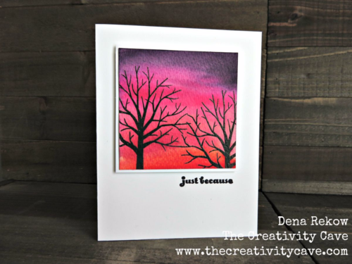 Watercolor Sky Background using Stampin Up's Sheltering Tree with a video tutorial on my blog is easier than you think!