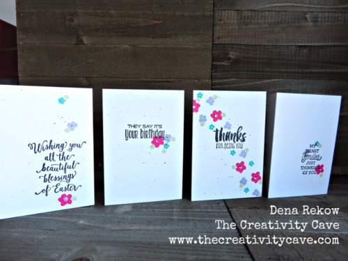 Use Stampin Up's Memories in the Making and Suite Sayings to make this adorable Card set--just takes a few minutes to make each one! You won't believe where the leaves came from! Video tutorial on my blog!