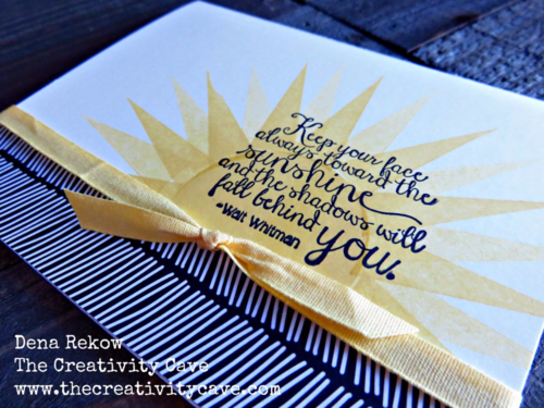 Amazing Sunshine Card made with Stampin Up's Ray Of Sunshine stamp set with video tutorial on my blog.  Its part of my DSP Hoarder Sketch Ideas PDF.  Details on my blog!