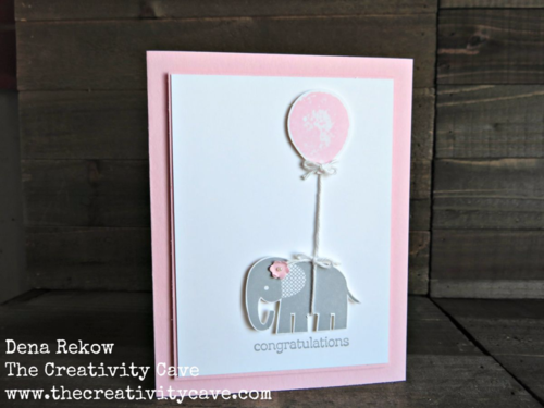 Adorable baby card using Stampin Up's Zoo Babies stamp set and Balloon Bouquet Punch.  More pics and all the details on my blog.