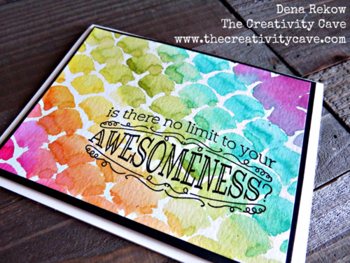 Stencils that Rock Video on my blog--easy way to create the gorgeous color on this awesome card using Stampin Up Supplies!  More info on my blog.  Big News Stamp Set, Striped Scallop Thinlits, Aquapainter, Watercolor Techniques with Stencils