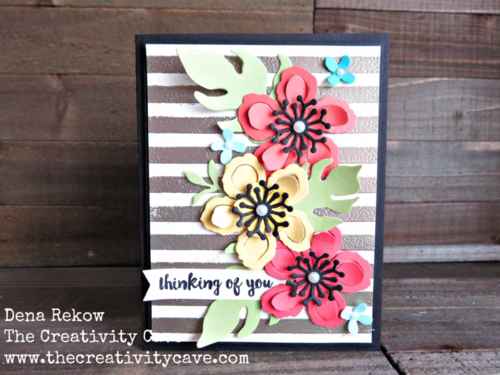 Stencils that Rock Video shows how this beautiful Heat-embossed background was made with Stampin Up's sponge daubers and the Dots and Stripes Decorative Mask.  I added a touch of Kate Spade inspired Botanical Blooms Flowers to make a truly gorgeous card!