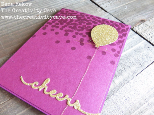 Simple and Striking Birthday Card using Stampin Up Dotty Angles Stamp set for the background and the Balloon Bouquet Punch and some Gold Glimmer Paper.