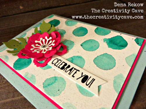 CelebrCheck out how awesome this birthday card is using Stampin Up's Dots and Stripes Stencil with the Botanical BLooms Builder Framelits!ate You 3