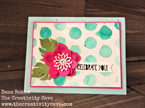 Check out how awesome this birthday card is using Stampin Up's Dots and Stripes Stencil with the Botanical BLooms Builder Framelits!