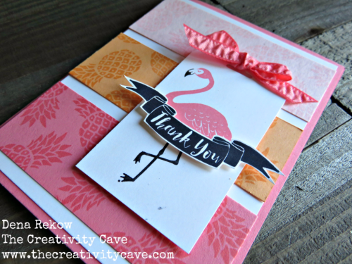 Video Tutorial on how to make this delightfully fun card using Stampin Up's Pop of Paradise on my blog: www.thecreativitycave.com #stampinup #thecreativitycave #handmade #flamingos #popofparadise