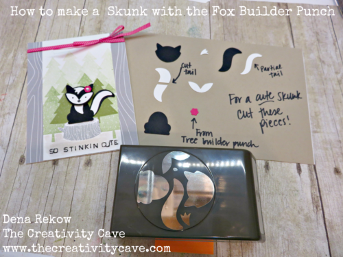 Awesome Video Tutorial for making a skunk with your Fox Builder Punch from Stampin Up! on my blog: www.thecreativitycave.com #stampinup #thecreativitycave #foxyfriends #foxbuilderpunch #handmade