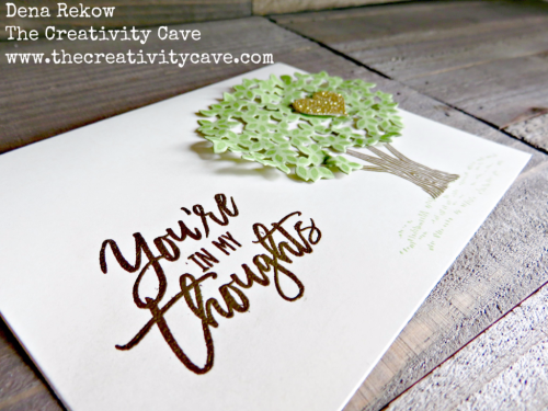 Check out the video on this beautiful, simple card on my blog, www.thecreativitycave.com it includes some great tips and I also have an online class available for this amazingly versatile stamp set and framelit bundle! #stampinup #thecreativitycave #onlineclass #thoughtfulbranches #thinkingofyou