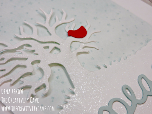 Video tutorial on my blog showing how to create this gorgeous shimmery Christmas Card using Stampin Up's Halloween Scenes Edgelits at www.thecreativitycave.com #stampinup #handmade #christmas #thecreativitycave