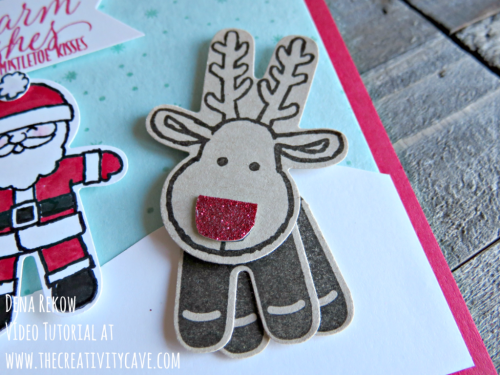 Awesome surprise inside card complete with video tutorial on my blog at www.thecreativitycave.com using Stampin Up's Cookie Cutter Christmas Stamp set and coordinating punch #stampinup #fridayquickies #cookiecutterchristmas #rudolph