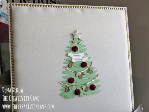 Check out the video tutorial on how to make this adorable Christmas Card Bulletin Board Using Stampin Up's Forever Evergreen Project Kit on my blog: www.thecreativitycave.com #stampinup #DIY #Christmascardholder #thecreativitycave