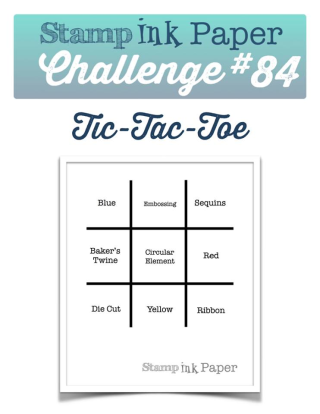 Check out my take on this Tic Tac Toe Board for the Stamp Ink Paper Challenge this week!  I made a video, of course! :) www.thecreativitycave.com #stampinup #thecreativitycave #