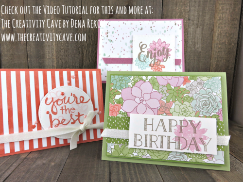 Check out the fun video for this and more cards using Stampin Up's Succulent Garden DSP on my blog www.thecreativitycave.com #stampinup #thecreativitycave #succulentgarden #ohsosucculent #DSP #printedpaper