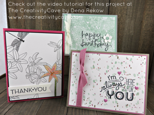 Check out the video tutorial which includes this and several more cards perfect for spring using Stampin Up's Printed Papers and sentiment Stamp sets on my blog: www.thecreativitycave.com #stampinup #succulentgarden #Watercolorwords #Onebigmeaning #insidethelinesdsp