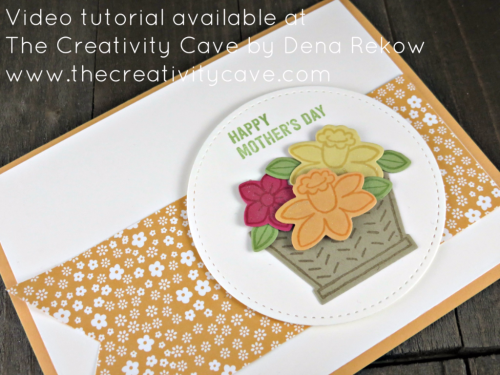 Check out the video tutorial for this adorable card using Stampin Up's Basket Bunch on my blog: www.thecreativitycave.com #stampinup #basketbunch #thecreativitycave
