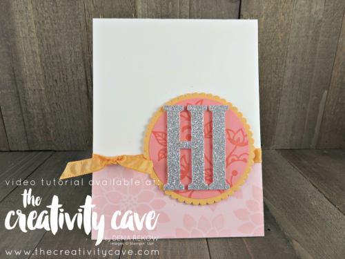 Super Cute and simple card using Stampin Up's Flourishing Phrases Stamp Set on my blog: www.thecreativitycave.com #stampinup #thecreativitycave #largeletterframelits #flourishingphrases
