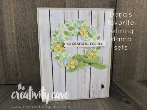 The Wondrous Wreath is a fabulous stamp set FILLED with versatility--you can make a wreath for all seasons and I will really miss this set.  The new Woodgrain Printed Paper coming in the new catalog would be AMAZING with this set! www.thecreativitycave.com #stampinup #thecreativitycave #wreath #allseason