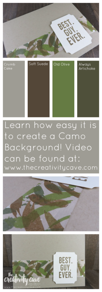 Check out this week's Fri Quickie Video Technique: Camouflage Background!  A Couple of different projects are shared with a super simple technique!  www.thecreativitycave.com #stampinup #fridayquickie #thecreativitycave