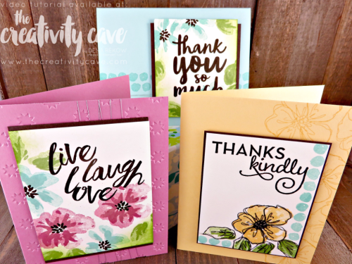 Check out my video tutorial for this awesome trio of cards using Stampin Up's Penned and Painted Stamp Set (on the retiring list) on my blog: www.thecreativitycave.com #stampinup #pennedandpainted #thecreativitycave