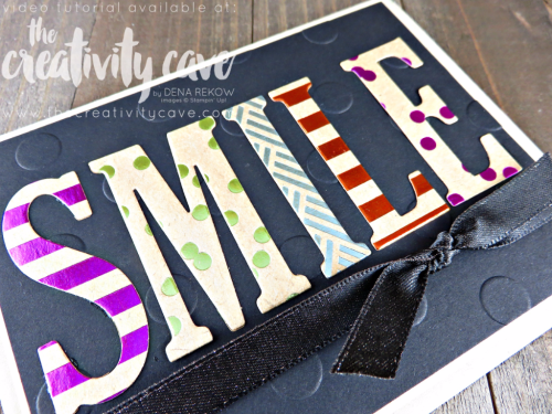 Check out the video tutorial on my blog hilighting the new Foil Frenzy Specialty Designer Series Paper and Large Letters Framelits as well as other projects from Stampin Up's New Catalog at www.thecreativitycave.com #stampinup #thecreativitycave #foilfrenzydesignerseriespaper #largelettersframelits