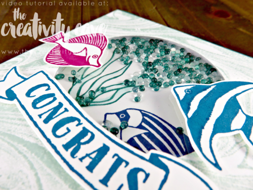Check out the video tutorial for this fun Shaker Card using Stampin Up's Seaside Shore, Banners for you and Marbled Background stamp on my blog at www.thecreativitycave.com #stampinup #thecreativitycave #seasideshores #wwyschallenge