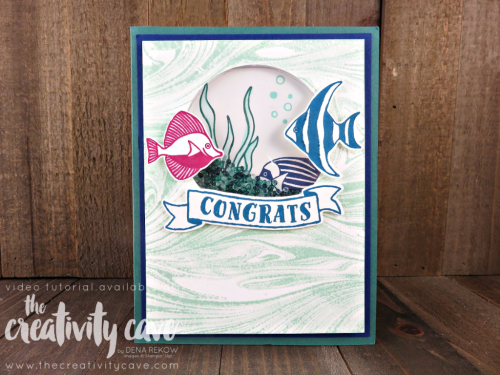 WWYCheck out the video tutorial for this fun Shaker Card using Stampin Up's Seaside Shore, Banners for you and Marbled Background stamp on my blog at www.thecreativitycave.com #stampinup #thecreativitycave #seasideshores #wwyschallengeS Seaside Shore