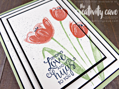Check out the Facebook Live Video for this card plus several others using new products from the 2017-18 Stampin Up Annual Catalog #stampinup #thecreativitycave #fblive #tranquiltulips