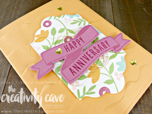 Check out my video tutorial for this bright and cheerful Anniversary Card using Stampin Up's Banners For You Stamp Set and coordinating Bunch of Banners Framelits on my blog, www.thecreativitycave.com #stampinup #bannersforyou #wwyschallenge