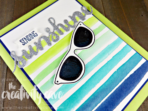Join me as I teach you how to make this fun Ombre Striped Watercolor Background and create this adorable card using Stampin Up's Pocket full of Sunshine Bundle on my blog at www.thecreativitycave.com #stampinup #thecreativitycave #pockefullofsunshine