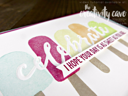 Check out my video tutorial for this adorable card filled with great tips using Stampin Up's Cool Treats Stamp Set and Celebrations Duo Embossing Folders on my blog, www.thecreativitycave.com #stampinup #thecreativitycave #cooltreats