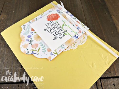 Fantastic Video Tutorial for this simple and beautiful card using Stampin Up's Daisy Delight Stamp set and coordinating Punch on my blog at www.thecreativitycave.com #stampinup #dadisydelight #onlineclass #thecreativitycave