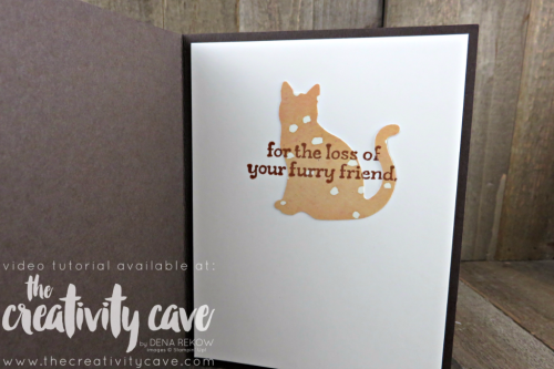 Check out the video tutorial from my FB Live this week using some sneek peek items from the new Holiday Catalog: The Cat Punch and the Painted Harvest DSP combined with the new Leaf punch for a sweet sympathy card for a friend who lost her cat all on my blog www.thecreativitycave.com #stampinup #2017Holidaycatalog #catpunch