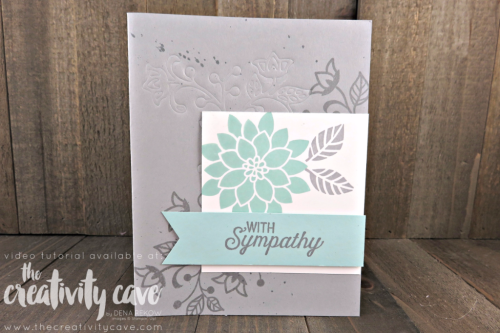 Check out my Friday Quickie Techniques and Tips Video for this fun and easy technique: Embossing With Framelits using Stampin Up's Flourishing Phrases Stamp Set on my blog at www.thecreativitycave.com #stampinup #thecreativitycave #flourishingphrases