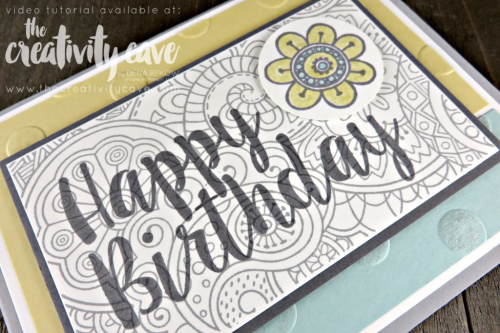 Check out the video tutorial for this fun card and a fantastic color combination using Stampin Up's Hello Color and Big on Birthday's Stamp Sets!  Lots of tips and tricks included: www.thecreativitycave.com #stampinup #thecreativitycave #bigonbirthdays #hellocolor #sipchallenge