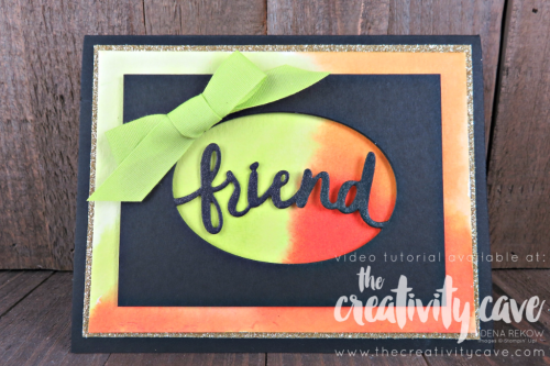 Check out a fabulous video tutorial for this fun, happy card on my blog at www.thecreativitycave.com using Stampin UP's Lovely Inside and Out Stamp Set and framelits. #stampinup #thecreativitycave #watercolor #lovelyinsideandout #aquapainters #handmadegreetingcards #lemonlimetwist #goldglimmer