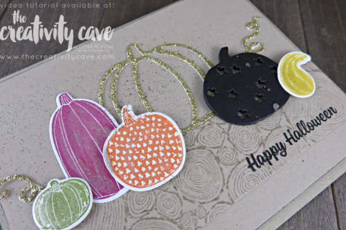 Check out the video tutorial for this an another awesome fall card on my blog using Stampin Up's Painted Harvest, Pick A Pumpkin and Spooky Cat Stamp Sets at www.thecreativitycave.com #stampinup #thecreativitycave #paintedharvest #paintedautumndsp #pickapumpkin #bigshot #layeringsquaresframelits #stitchedshapesframelits