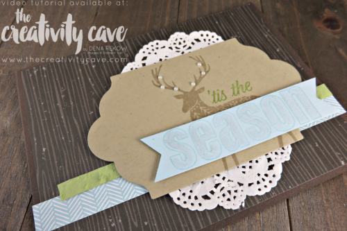 Check out the Video Tutorial for this and 6 MORE projects using Stampin Up's Merry Patterns Stamp Set on my blog at www.thecreativitycave.com #stampinup #thecreativitycave #cardmaking #rubberstamping #papercrafting #DIY #handmadegreetingcards #Printedpaper #Merrypatterns #christmascards #coffeebreakdsp