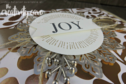 Check out the Video Tutorial for this and 6 MORE projects using Stampin Up's Year of Cheer Stamp Set  and Year of Cheer Specialty DSP (printed paper) on my blog at www.thecreativitycave.com #stampinup #thecreativitycave #cardmaking #rubberstamping #papercrafting #DIY #handmadegreetingcards #Printedpaper #yearofcheer #yearofcheerspecialtydsp #metallic #champagnefoil