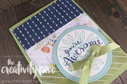 Fun card I created using Stampin Up's Daisy Delight Stamp Set and DSP on my blog with Video tutorial at www.thecreativitycave.com #stampinup #thecreativitycave #Stitchedshapeframelits #delightfuldaisy #daisydelight #handmadegreetingcards